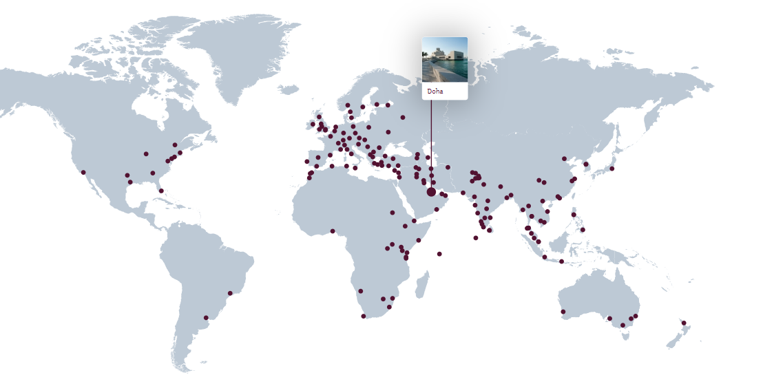 Fly to more than 160 destinations with QatarAirways